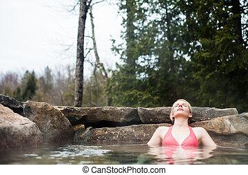 礦泉, 婦女, 年輕, 放松, nordic