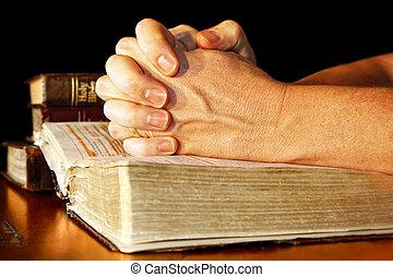 祈禱, 光, 手, 神圣, 圣經