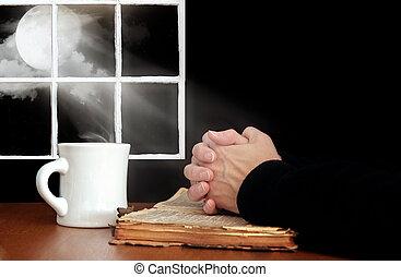 祈禱, 聖經, 老, 手