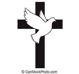 神圣, 符號, illustration., peace., 矢量, 飛行, 鴿, religion., cross., 教堂, spirit., logo.