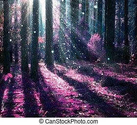 神秘, 幻想, 老, 森林, 風景。
