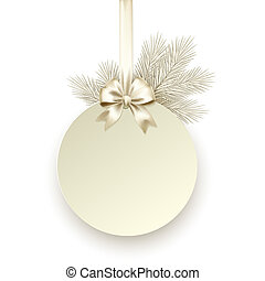 禮物弓, 矢量, 樣板, 緞子, 圣誕節卡片