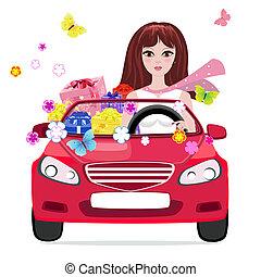 禮物, 汽車, 女孩