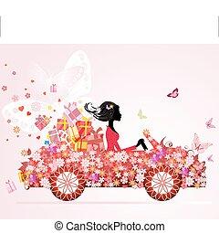 禮物, 汽車, 女孩, 植物, 紅色