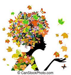 秋天, 女孩, 時裝, 花