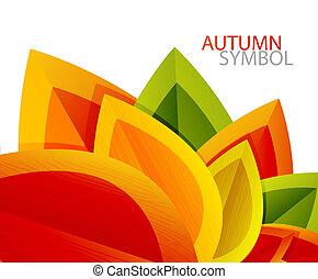 秋天, 摘要, 矢量, 葉子, 背景