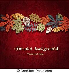 秋天, 矢量, 紅的背景