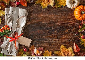 秋天, 确定, 地方, 感恩