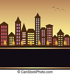 秋天, 都市風景, 插圖