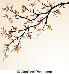 秋天, branch., 樹