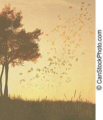 秋天, (fall), 樹, 背景