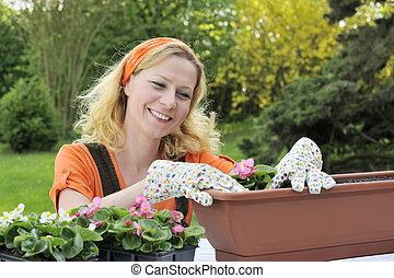 种植, 婦女, 花