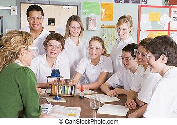 科學課, 老師, 學童