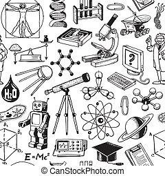 科學, 教育, seamless, 圖案