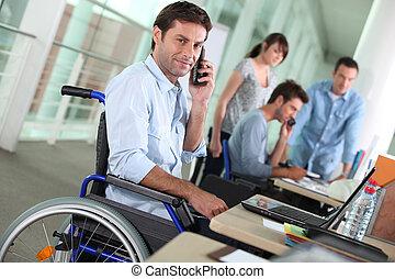 移動電話, 輪椅, 工作, 人