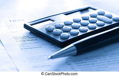 稅, 計算器, 鋼筆, 形式