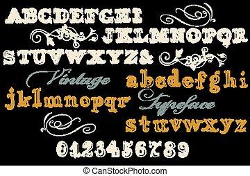 稱呼, 字体, 信件, abc, numbers., 洗禮盆, 英語, 葡萄酒