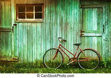 穀倉, 畫, 數字, 老, 針對, 自行車