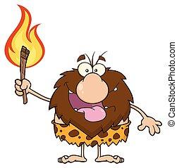 穴居人, 火炬, 男性, 火熱, 藏品