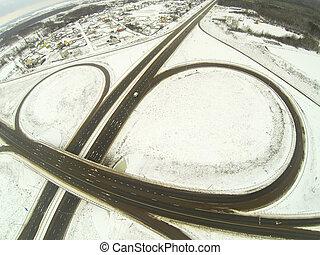 空中的觀點, 接合, 圓, 汽車高速公路