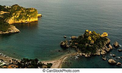 空中, 島, 看法, bella, isola, 日出, italy: