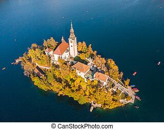 空中, 島, slovenia., 湖, 流血, 看法