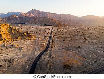 空中, 沙漠, 路, 看法