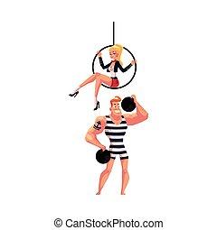 空中, 表演者, 体操運動員, 箍, 馬戲, -, 雜技演員, 坐, 大力士