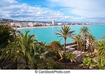 空中, peniscola, castellon, 村莊, 海灘, 西班牙, 看法