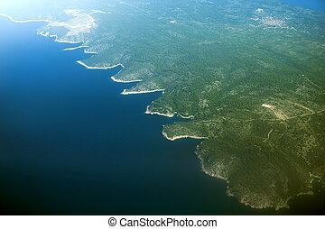 空中, solta, croatia., 看法, 島