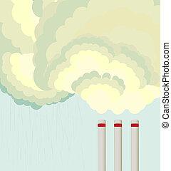 空氣, 工廠, 雲, 污染