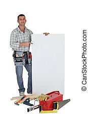 空白, 站, 木匠, 面板, 做廣告