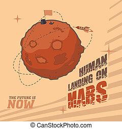 空間, 明信片, 葡萄酒, 著陸, 人類, 火星