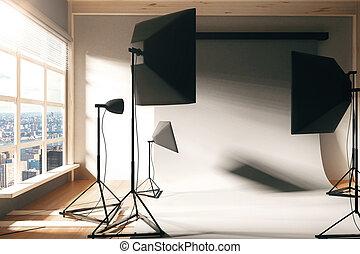 空, 內部, 照片工作室, 窗口