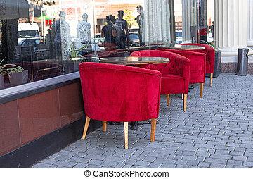 空, 美麗, 街道, 戶外, 表, 咖啡館, 紅色, 餐館, 椅子, 天鵝絨