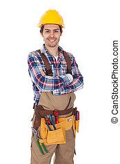 穿, 充滿信心, 工人, toolbelt