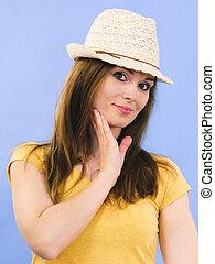 穿, 婦女, 太陽, 年輕 成人, 帽子