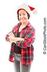 穿, 婦女, 帽子, 年輕, 聖誕老人
