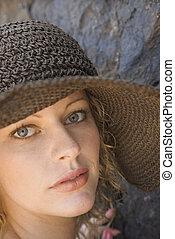 穿, 婦女, 年輕, hat.