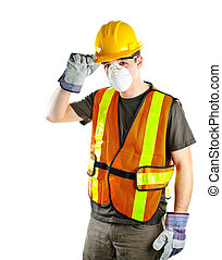 穿, 工人, 建設, 安全設備