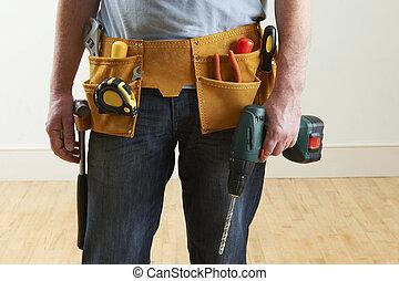 穿, 工人, toolbelt