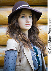 穿, 時髦, 婦女, 帽子, 年輕