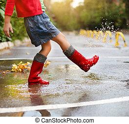 穿, 水坑, 雨, 跳躍, 靴子, 孩子, 紅色