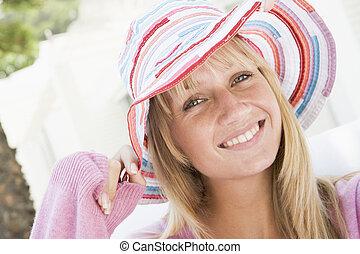 穿, 秸桿, 婦女, 帽子, 年輕