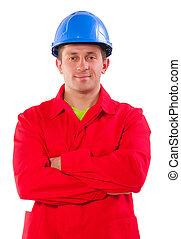 穿, 藍色, 工人, 短上衣, hardhat, 紅色