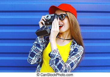 穿, 藍色, 時裝, 老, 相當, 鮮艷, 在上方, 涼爽, 照像機, retro, 背景, 女孩, 射擊, 衣服