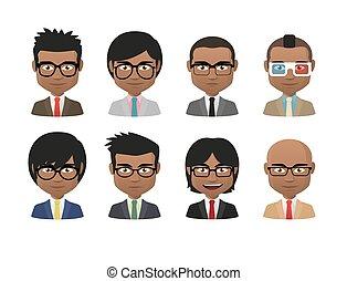 穿, 集合, 人, 年輕, 印第安語, avatar, 衣服, 眼鏡