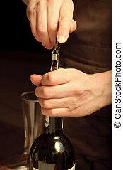 窗帘, 打開, somellier, 瓶子, winetasting, 酒