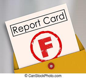 窮, f, 等級, 失敗, 失敗, 得分, 報告, 表現, 卡片