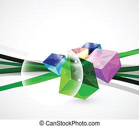 立方, 玻璃, 摘要, 矢量, 背景
